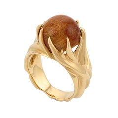 18 Karat Rutilated Quartz Shore Grass Ring by John Landrum Bryant