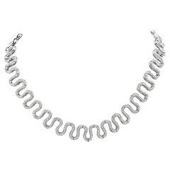 18 Karat S Swirl Diamond Necklace