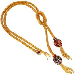 18 Karat Sailor's Knot Enameled Weave Necklace Long Bolo Tassel Deco 132 Grams