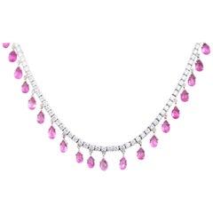 18 Karat Sapphire and 9.17 Carat Diamond Fringe Necklace