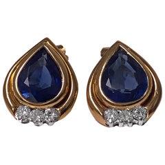 18 Karat Sapphire and Diamond Earrings