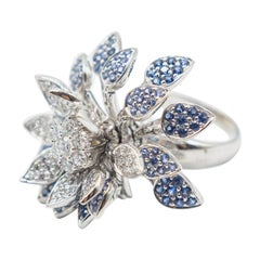 18 Karat Sapphire and Diamond Floral Mobile Ring/spinner Effy flower ring.