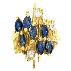 18 Karat Sapphire and Diamond Modern Ring