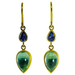18 Karat Sapphire and Emerald Earrings