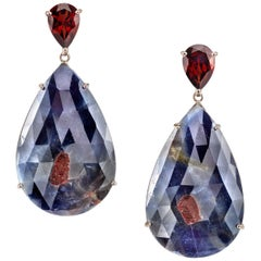 18 Karat Sapphire and Rhodolite Pear Shaped Drop Earrings