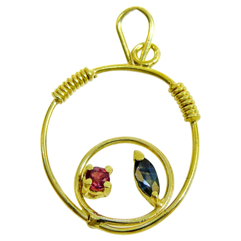 18 Karat Sapphire and Ruby Ladies Pendant For Sale