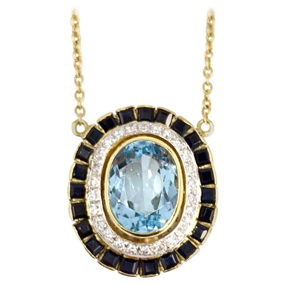 18 Karat Sapphire, Blue Topaz and Diamond Oval Necklace