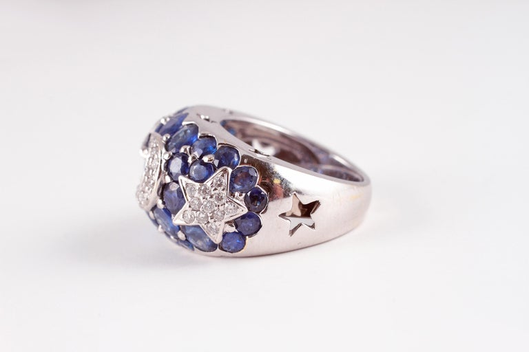 Women's or Men's 18 Karat Sapphire Diamond Moon and Stars Ring by Kanaris