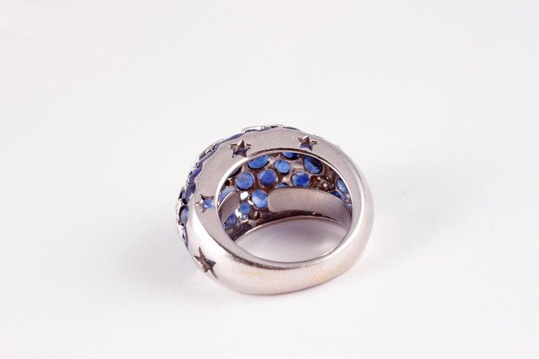 18 Karat Sapphire Diamond Moon and Stars Ring by Kanaris 1