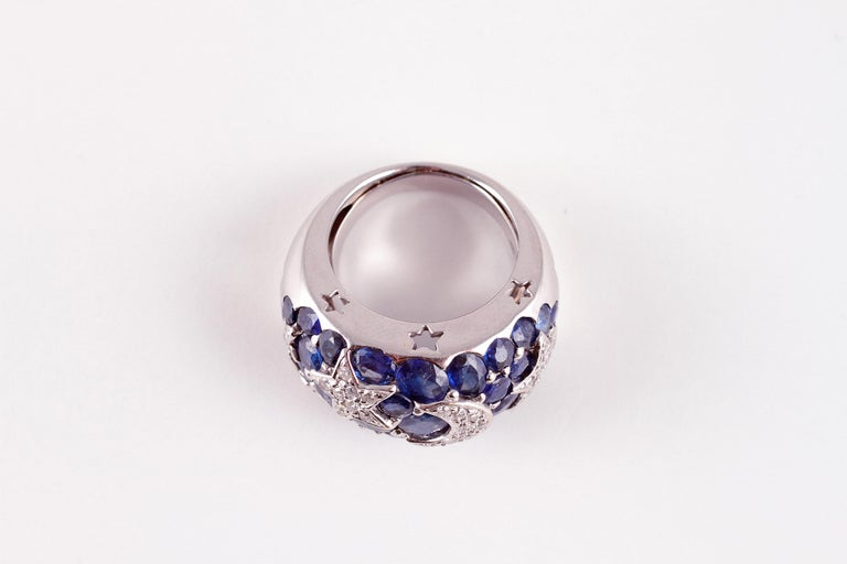 18 Karat Sapphire Diamond Moon and Stars Ring by Kanaris 2