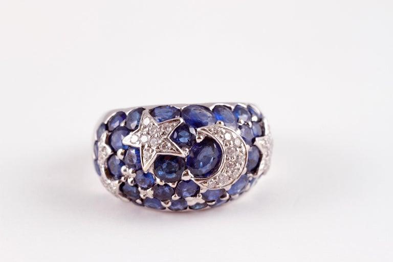 18 Karat Sapphire Diamond Moon and Stars Ring by Kanaris 3