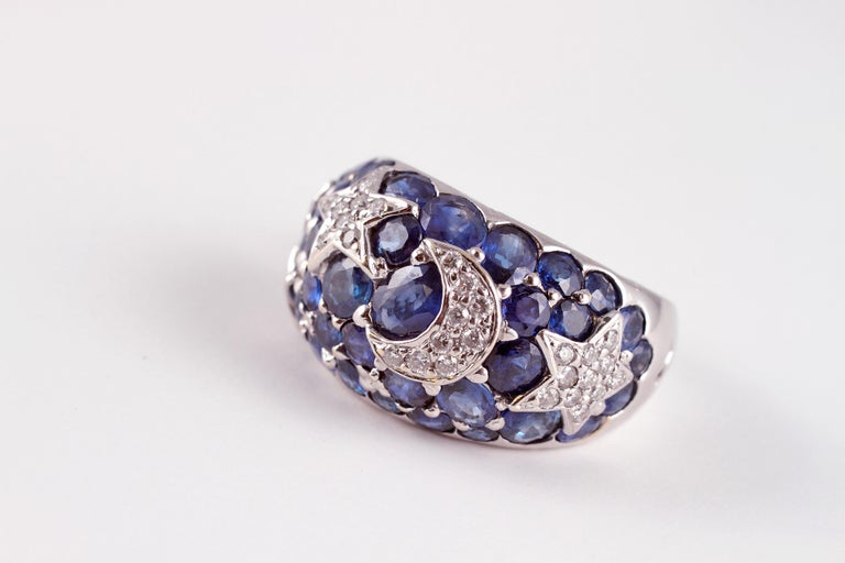 18 Karat Sapphire Diamond Moon and Stars Ring by Kanaris 4