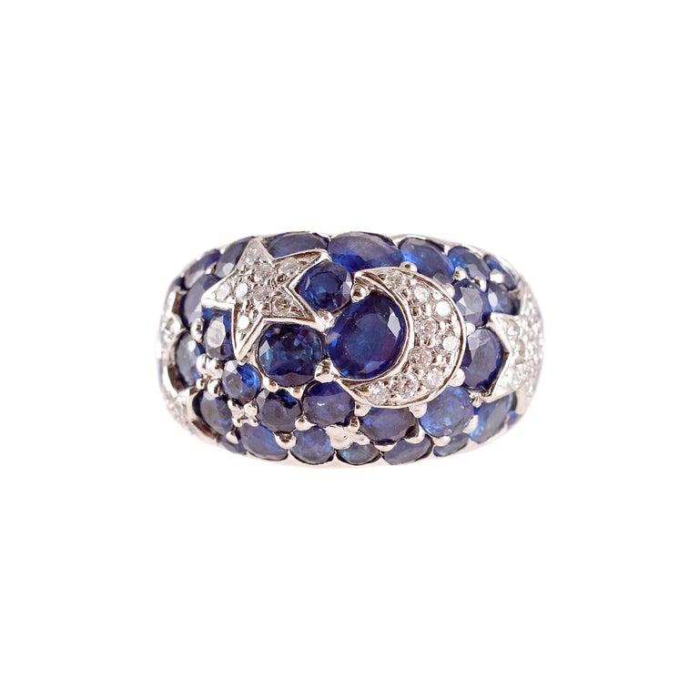 18 Karat Sapphire Diamond Moon and Stars Ring by Kanaris