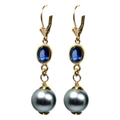 18 Karat Sapphire Pearl Drop Earrings