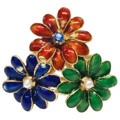 18 Karat Sapphire Pearl Enamel Flower Ring