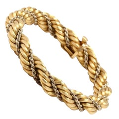 18 Karat Satin and High Polish Yellow Gold Double Twisted Rope Bracelet