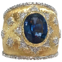 18 Karat Satin Yellow Gold Diamond and Sapphire Ring