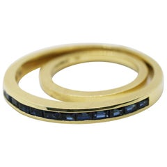 18 Karat Saturn Sapphire Spinning Ring