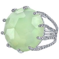 18 Karat Sea Blue Chalcedony Diamond Beam Ring