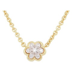 18 Karat Seidengang Diamond Flower Necklace Yellow Gold 0.10 Carat