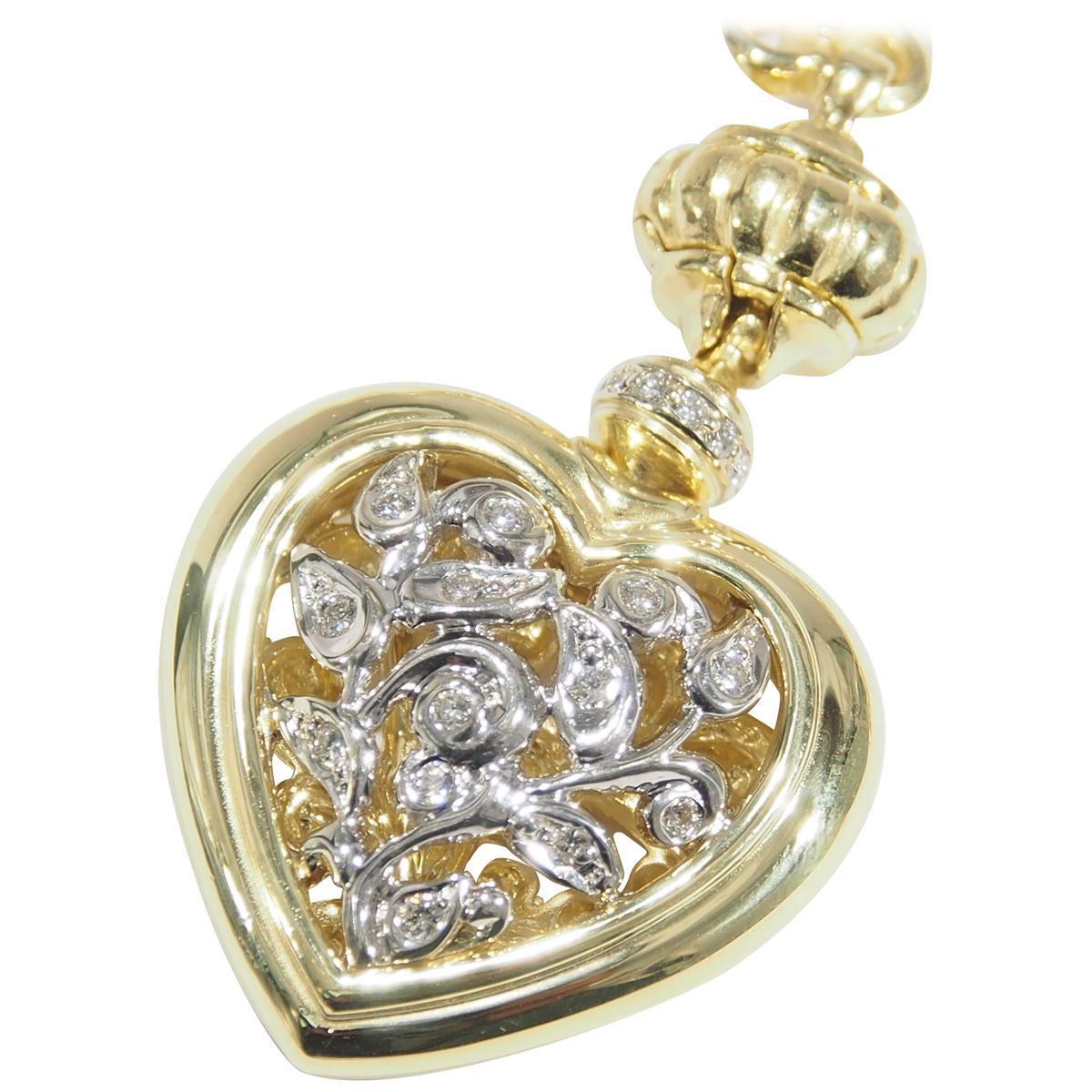 18 Karat Seidengang Diamond Necklace Yellow White Gold 0.72 Carat