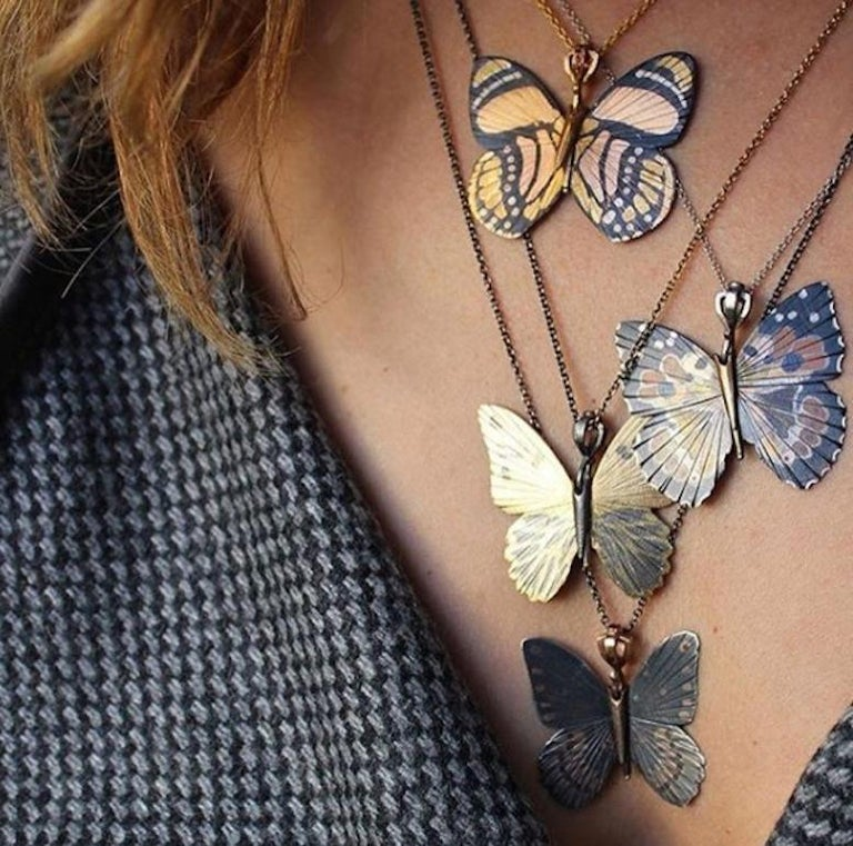 18 Karat Shakudo Callicore Butterfly Hinge Necklace For Sale 1