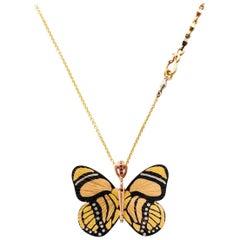 18 Karat Shakudo Callicore Butterfly Hinge Necklace