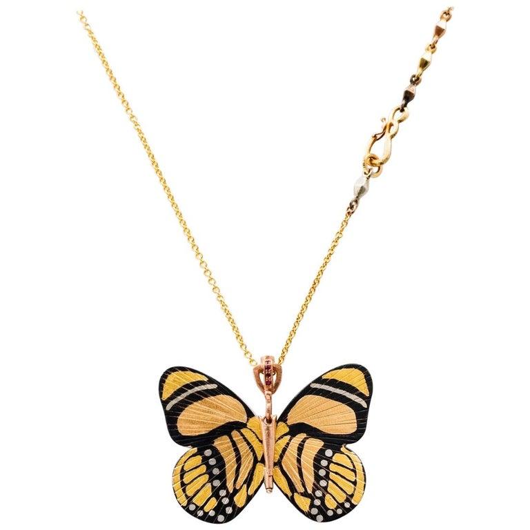 18 Karat Shakudo Callicore Butterfly Hinge Necklace For Sale