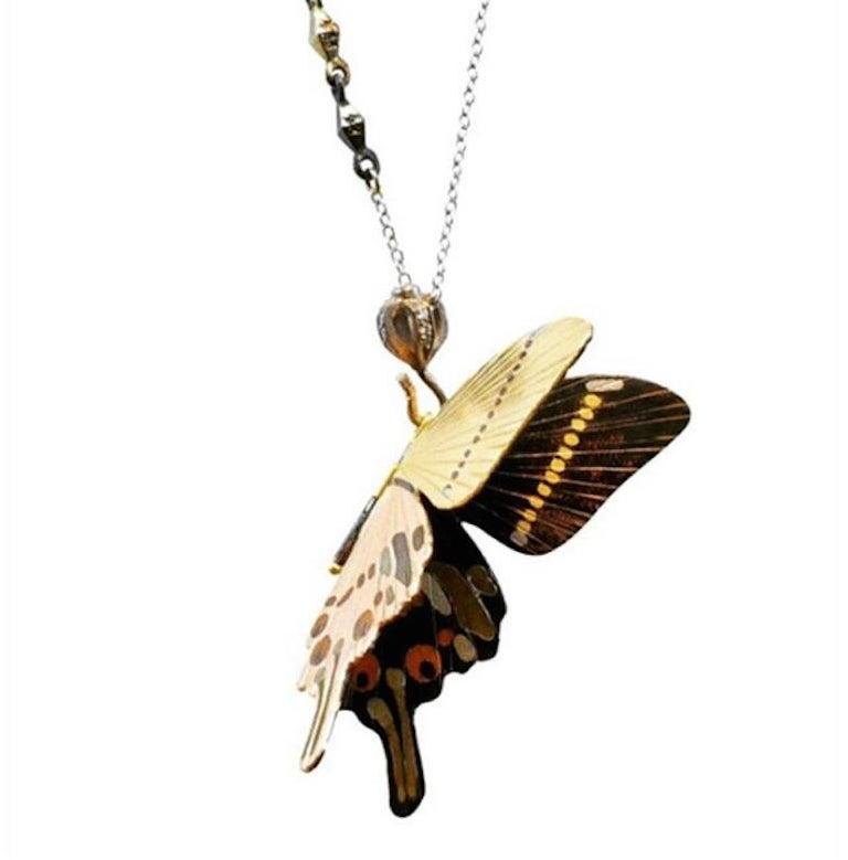 Contemporary 18 Karat Shakudo Shibuichi Inlay Gloss Swallowtail Large Butterfly Necklace  For Sale