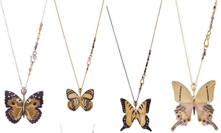 18 Karat Shakudo Shibuichi Inlay Gloss Swallowtail Large Butterfly Necklace  For Sale 4
