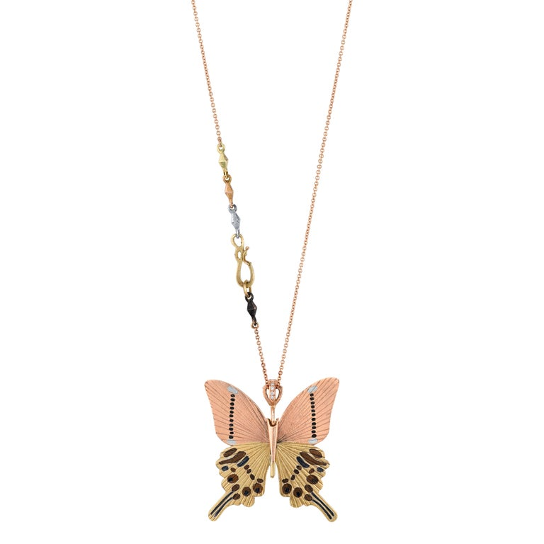 18 Karat Shakudo Shibuichi Inlay Gloss Swallowtail Large Butterfly Necklace  For Sale