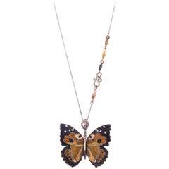 18 Karat Shakudo Shibuichi Large Kamehameha Butterfly Hinge Necklace