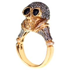 18 Karat Skull Ring with 1.26 Carat Natural Fancy Color Diamond