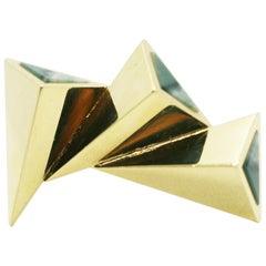 18 Karat Sliding Angles Pyramid Chalcedony Inlay Ring