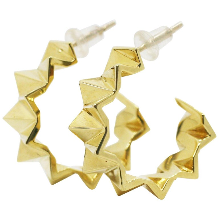 18 Karat Small Folded Triangle Hoops For Sale