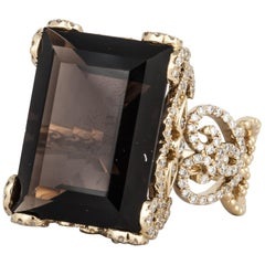 18 Karat Smokey Quartz Diamond Ring