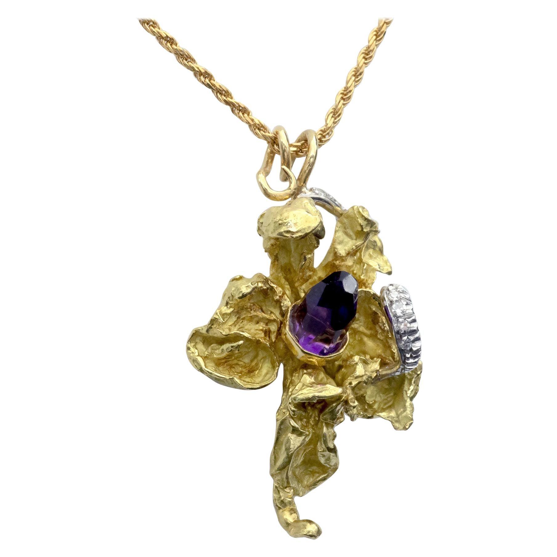 18 Karat Solid Gold Amethyst and Diamond Orchid Pendant