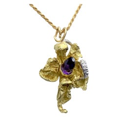 18 Karat Solid Gold Amethyst and Diamond Orchid Pendant