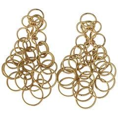 18 Karat Solid Gold Circle Earrings