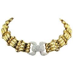 18 Karat Solid Gold Diamond Link Necklace 5.25 Diamond Carat Total Weight