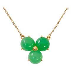 18 Karat Solid Gold Handmade Green Chalcedony Blossom Flower Pendant Necklace