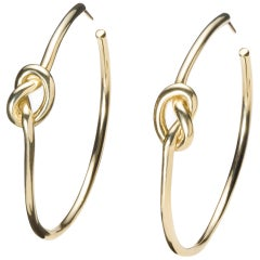 18 Karat Solid Gold Love Knot Hoops