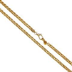 18 Karat Solid Gold Satin Finish Chain Necklace