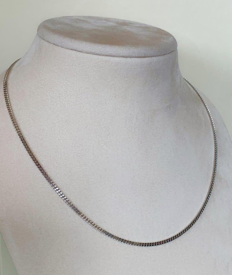 18 Karat Solid White Gold Curb Chain Necklace For Sale 1