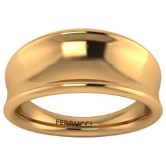 18 Karat Solid Yellow Gold Curved Organic Band