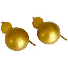 18 Karat Solid Yellow Gold Hook Drop Earrings