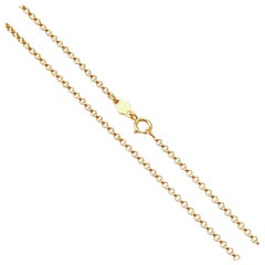 18 Karat Solid Yellow Gold Rollo Belcher Chain Necklace
