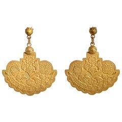 18 Karat Solid Yellow Gold Satin Finish Drop Earrings