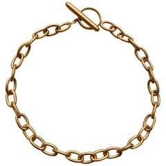 18 Karat Solid Yellow Gold Satin Finish Link Chain Bracelet