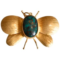 18 Karat Solid Yellow Gold Satin Finish Turquoise Butterfly Pendant / Brooch